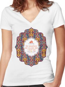 Hipster seamless aztec pattern with geometric elements and typographic text Women's Fitted V-Neck T-Shirt