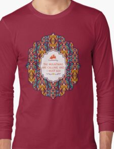 Hipster seamless aztec pattern with geometric elements and typographic text Long Sleeve T-Shirt