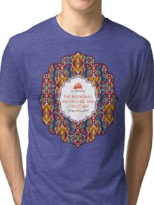 Hipster seamless aztec pattern with geometric elements and typographic text Tri-blend T-Shirt