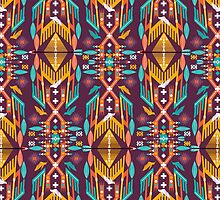 Hipster seamless aztec pattern with geometric elements and typographic text by Olena Syerozhym
