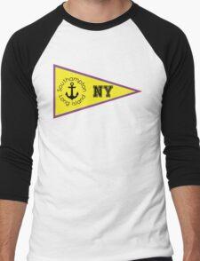 SOUTHAMPTON LONG ISLAND NEW YORK ANCHOR NAUTICAL FLAG PENNANT OCEAN BEACH SURFING SURF YACHT YACHTING BOAT Men's Baseball ¾ T-Shirt
