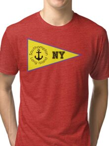 SOUTHAMPTON LONG ISLAND NEW YORK ANCHOR NAUTICAL FLAG PENNANT OCEAN BEACH SURFING SURF YACHT YACHTING BOAT Tri-blend T-Shirt