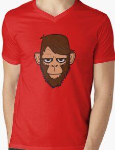 Monkey Hipster Beard Mens V-Neck T-Shirt