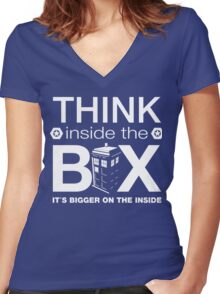 Think Inside The Box, Witty Dr Who Quote Women's Fitted V-Neck T-Shirt