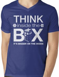 Think Inside The Box, Witty Dr Who Quote Mens V-Neck T-Shirt