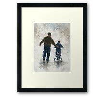 FIRST BIKE RIDE DAD AND SON Framed Print