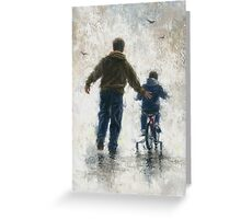 FIRST BIKE RIDE DAD AND SON Greeting Card