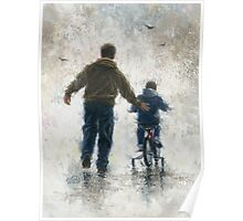 FIRST BIKE RIDE DAD AND SON Poster