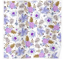 Pastel elegant lavender brown watercolor summer fruit floral Poster