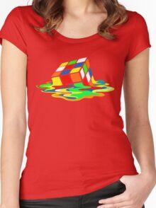 The Big Bang Theory Sheldon Cooper Melting Rubik's Cube cool geek Women's Fitted Scoop T-Shirt