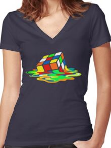 The Big Bang Theory Sheldon Cooper Melting Rubik's Cube cool geek Women's Fitted V-Neck T-Shirt