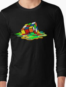 The Big Bang Theory Sheldon Cooper Melting Rubik's Cube cool geek Long Sleeve T-Shirt