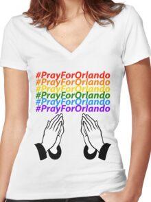 #PrayForOrlando Women's Fitted V-Neck T-Shirt