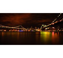 The Manhattan and Brooklyn Bridges at Night Photographic Print