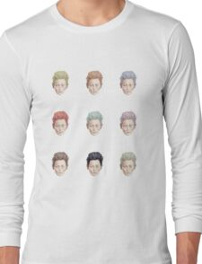 Colorful Tilda Heads on White Long Sleeve T-Shirt