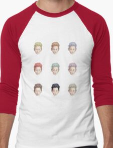Colorful Tilda Heads on White Men's Baseball ¾ T-Shirt