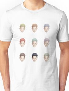 Colorful Tilda Heads on White Unisex T-Shirt