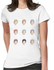Colorful Tilda Heads on White Womens Fitted T-Shirt