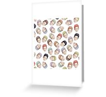 Colorful Tilda Heads on White Greeting Card