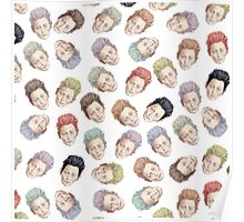 Colorful Tilda Heads on White Poster