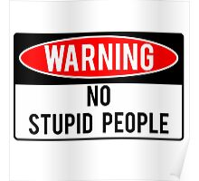 Warning - No Stupid People Poster