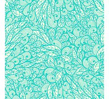 Blue ornamental floral pattern Photographic Print