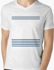 Trendy Nautical Navy White Stripes Design Mens V-Neck T-Shirt