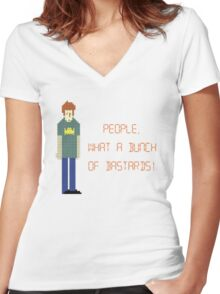 The IT Crowd – People, What a Bunch of Bastards! Women's Fitted V-Neck T-Shirt