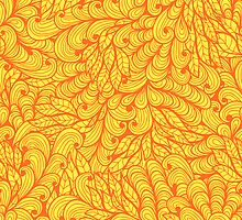 Orange ornamental floral pattern by Patternalized