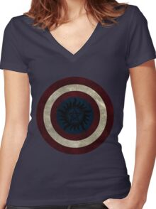 Demon Shield Women's Fitted V-Neck T-Shirt