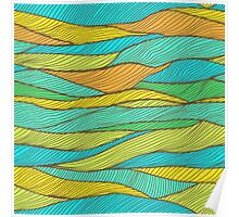 Striped bright hand drawn pattern Poster