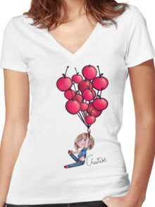 Cherry Balloons Women's Fitted V-Neck T-Shirt