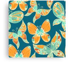 Butterflies. Hand drawn pattern Canvas Print