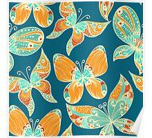 Butterflies. Hand drawn pattern Poster