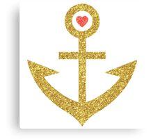 Gold Glitter Print Nautical Boat Anchor Canvas Print