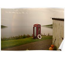 Isle of Rum - telephone box at the end of the world Poster
