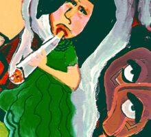The Woman Smoking A Cigarette Sticker