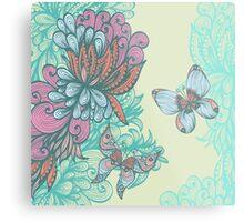 Butterfly & Rose Metal Print