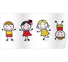 Stitch School figures isolated on white Poster