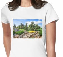 Earthtones, Greens and Yellows - Impressions of a Rock Garden Womens Fitted T-Shirt
