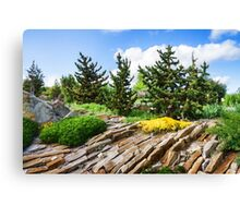 Earthtones, Greens and Yellows - Impressions of a Rock Garden Canvas Print