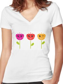 Cute colorful tulips - SPRING Designs Women's Fitted V-Neck T-Shirt