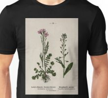 Wayside and woodland blossoms a pocket guide to British wild flowers for the country rambler  by Edward Step 1895 010 Lady's Smock Cuckoo Flower Shepherd's Purse Unisex T-Shirt