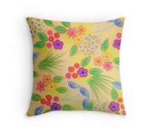 WILDFLOWER FANCY 1 - Cheerful Yellow Lovely Floral Garden Pattern Girly Feminine Trendy Flowers Throw Pillow