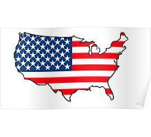 United States of America Map with USA Flag Poster