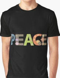 Peace Word Floral Pattern Illustration Graphic T-Shirt