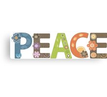 Peace Word Floral Pattern Illustration Canvas Print