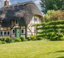English Village Thatched Cottage and garden Sticker