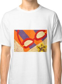 Beach Towel with Glasses, Seashell, and Starfish Classic T-Shirt