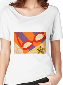 Beach Towel with Glasses, Seashell, and Starfish Women's Relaxed Fit T-Shirt